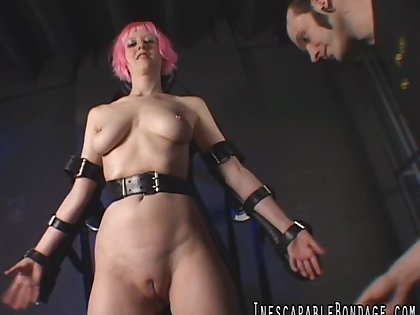 Pink haired spread out likes to execrate spanked and torturous naked