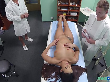 Slutty nurse Mea Melone fucked by the adulterate and later by his son