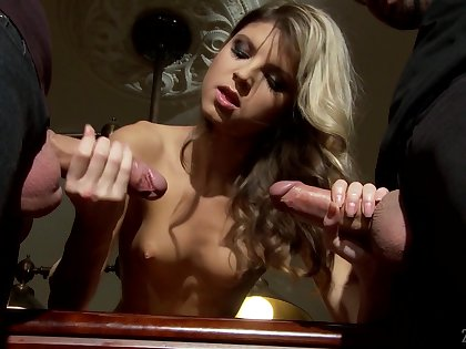 Elfin blonde Gina Gerson gets a mouthful of cum after crazy trio sex