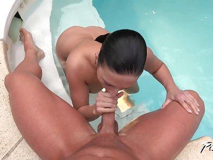 Having seduced stud dour Asdis Loren gives him BJ in hammer away pool