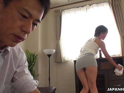 Asian filly teases her boss masterfully and then she gets his dick