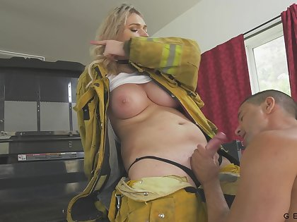 Leader firefighter has a quickie with a stranger and her breast are so juicy