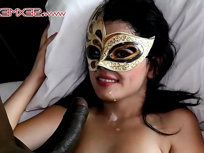 Amateurish in mask fucked by black dick and gets facial