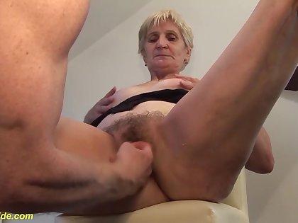 Extreme big cum load shot in grandmas eye