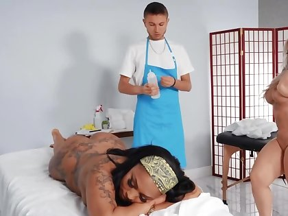 Janitor turns into a masseur and fucks two fullest completely goddesses