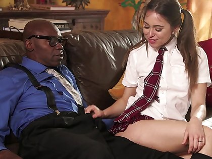 Pigtailed Riley Reid lets an experienced black balls infringement her demon rum box