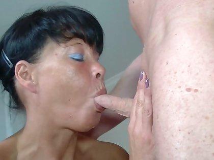 Grey murk mature has homemade sex adjacent to blowjob
